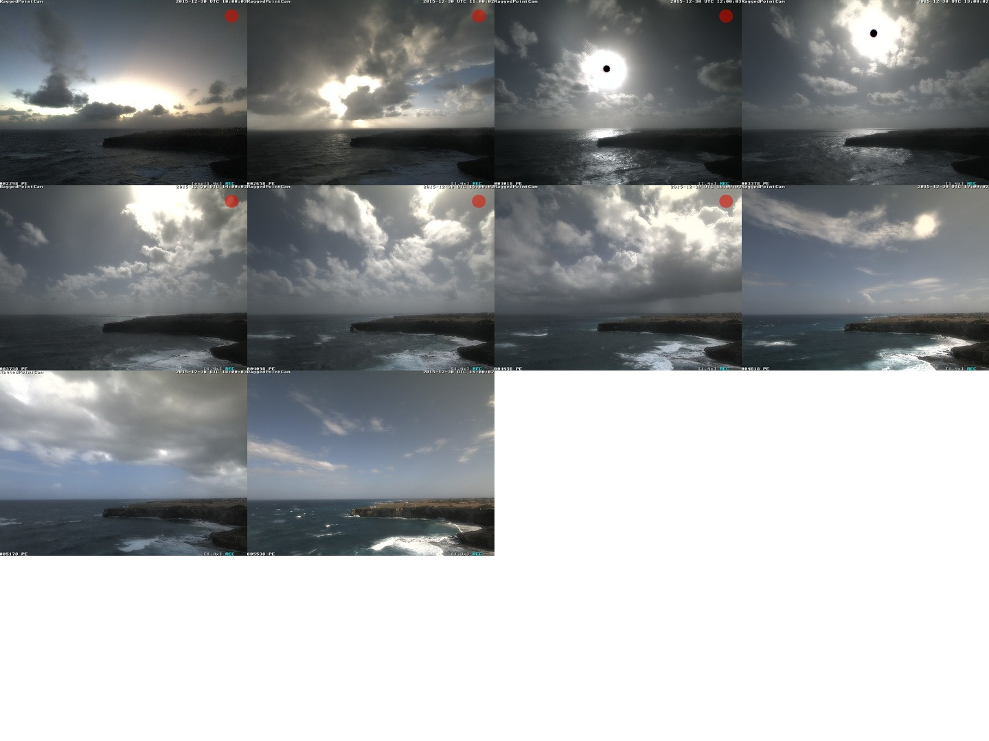 Collage of recent webcam images of clouds   approaching the Barbados Cloud Observatory